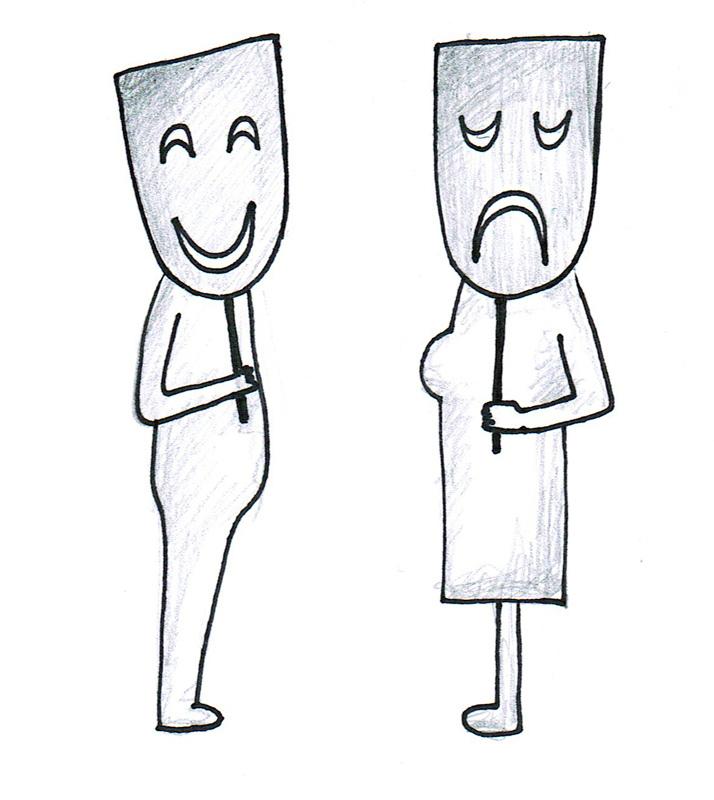 Dwoje ludzi - para zasłaniająca się maskami