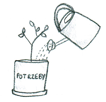 podlewanie roślinki wyrażającej potrzeby